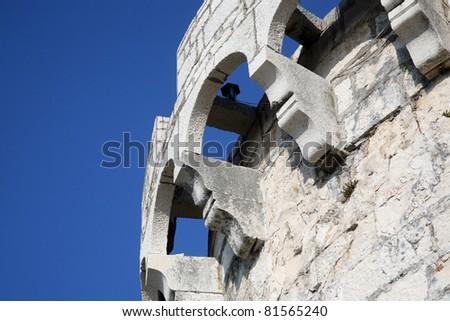 Stone fort in Korcula, Croatia - stock photo