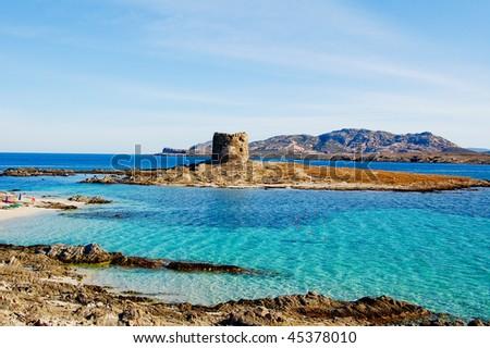 Stone fortress in sardegna, wide - stock photo