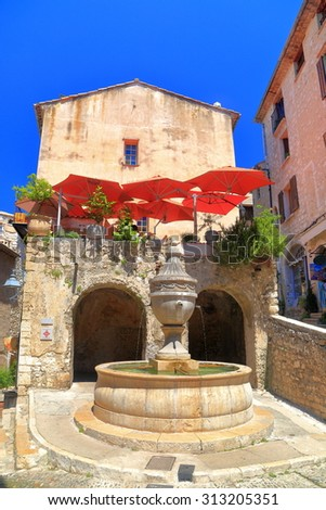 Stone fountain in the historical town of Saint Paul De Vence, France - stock photo