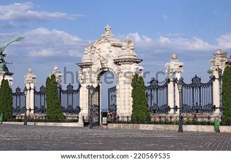 stone gate and fence Buda royal castle Budapest - stock photo