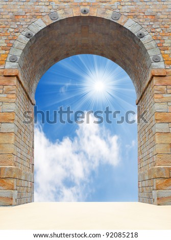Stone gate to heaven. Business concept. Success metaphor. - stock photo