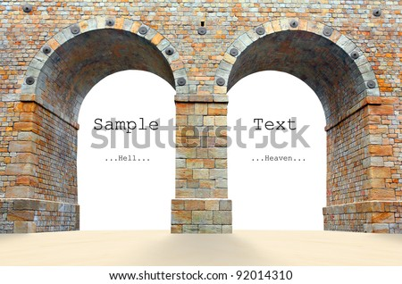 Stone gate with room for your text or image. - stock photo