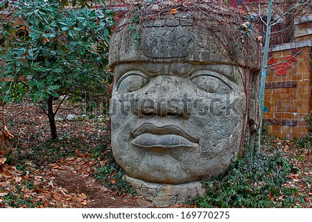 Stone head - stock photo
