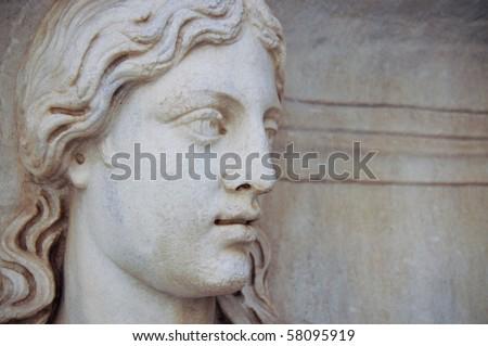 stone head profile - stock photo