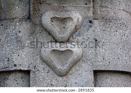 Stone hearts decoration for background - stock photo