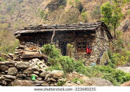 Stone house in the mountains of the Himalayas. Everest region, Himalayas, Nepal.  - stock photo