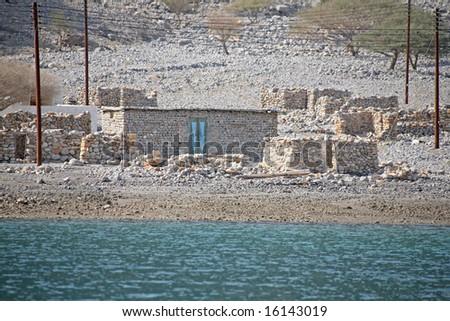 Stone house on Musandam Peninsula Oman - stock photo