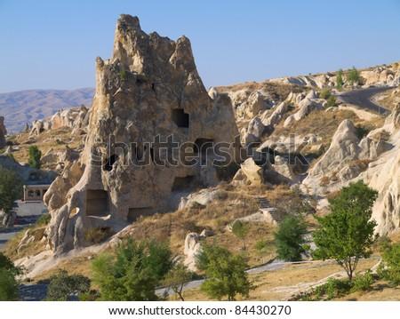 Stone houses in cappadocia - stock photo