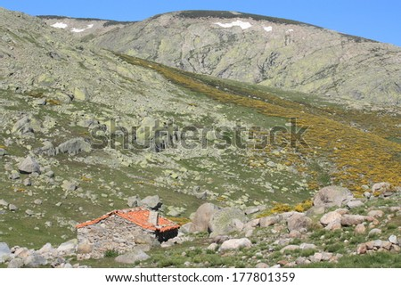 stone hut in Sierra de Gredos national park - stock photo