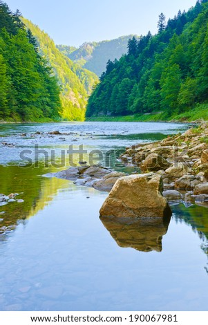 Stone in The Dunajec River Gorge. National border between Poland and Slovakia. The Pieniny Mountains Range nature reserve. - stock photo