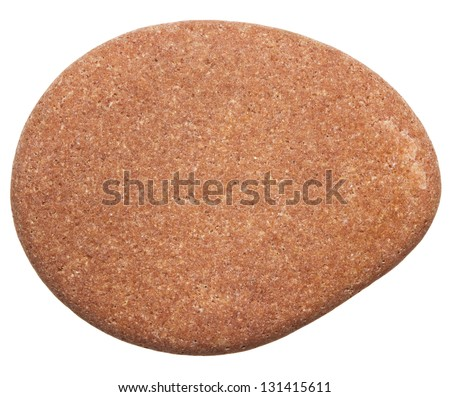 Stone isolated on white background. Smooth sea rock. - stock photo