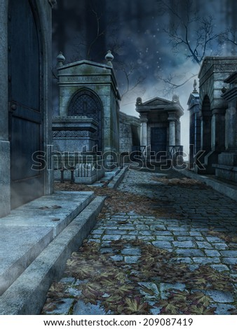 Stone lane in an old gothic cemetery - stock photo