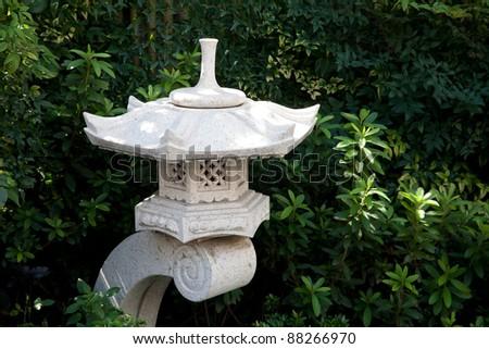 stone Lantern on japanese garden - stock photo