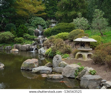 Japan zen path garden pond surrounded stock photo 67421749 for Japanese style pond