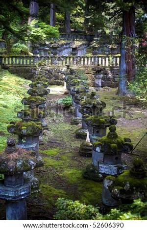Stone Lanterns, Nikko, Tochigi, Japan - stock photo