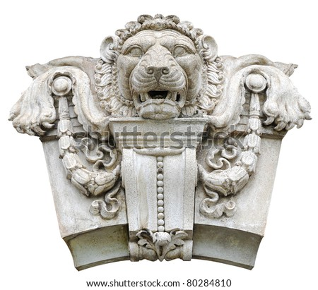 Stone lion. - stock photo
