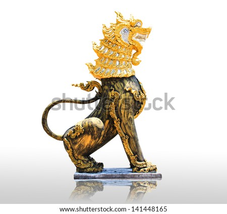 Stone Lion sculpture, symbol of protection & power in Oriental Asia especially China - stock photo
