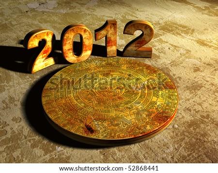 Stone Maya calendar and numbers 2012 - stock photo