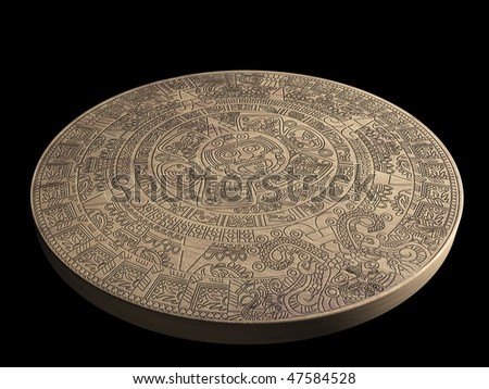 Stone Maya calendar - over black - stock photo