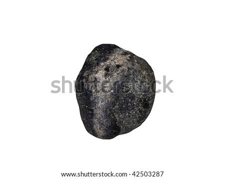 Stone meteorite isolated on white - stock photo