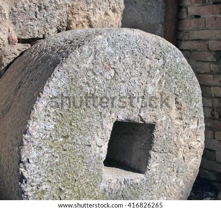 Stone millwheel - stock photo