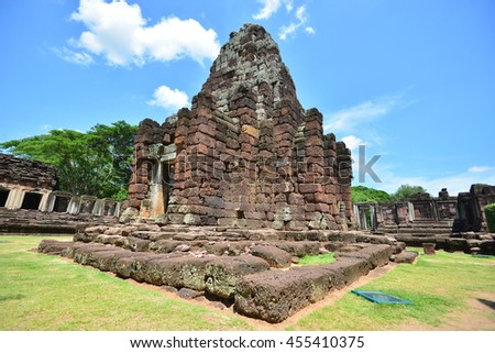 Stone monument at Pimai castle, historical park and ancient castle in Nakhon Ratchasima Province in Thailand