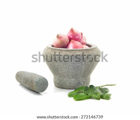 stone mortar and pestle with mixed dry food  - stock photo