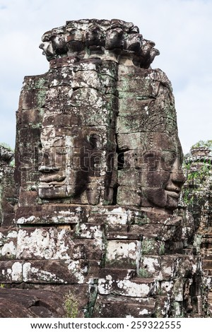 Stone murals and sculptures in Angkor wat, Cambodia - stock photo