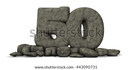 stone number fifty on white background - 3d rendering - stock photo