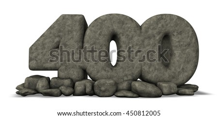 stone number four hundred on white background - 3d rendering - stock photo