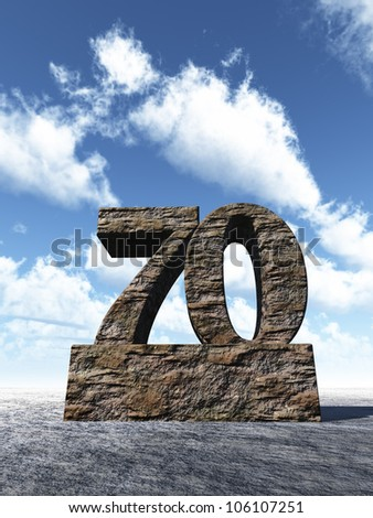 stone number seventy monument under cloudy blue sky - 3d illustration