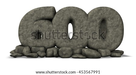 stone number six hundred on white background - 3d rendering - stock photo