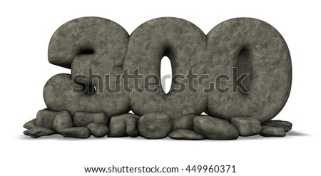 stone number three hundred on white background - 3d rendering - stock photo