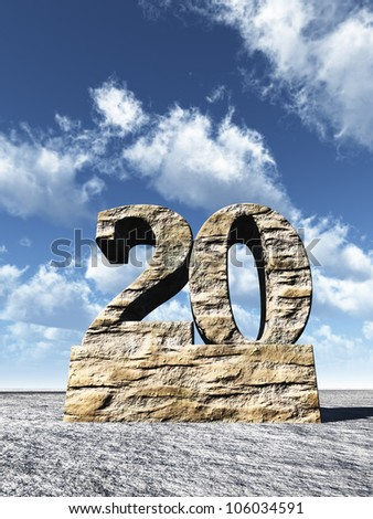 stone number twenty monument under cloudy blue sky - 3d illustration