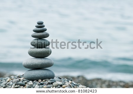 stone on sea shore closeup - stock photo