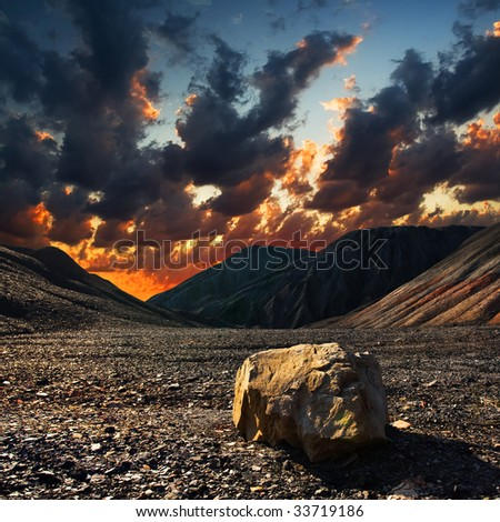 Stone on the hill of old mine of Donbass - stock photo