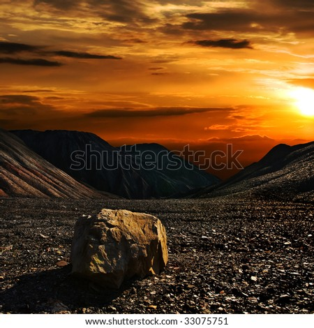 Stone on the hill of old mine of Donbass Ukraine - stock photo