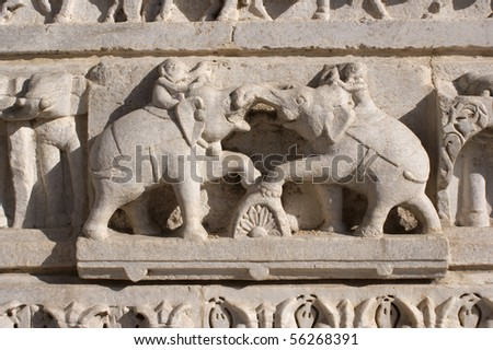 Stone ornament at Hindu temple in Udaipur - stock photo