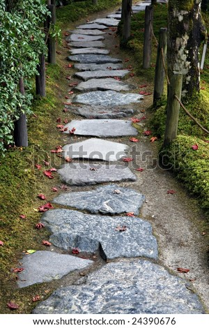 Stone path in a Japanese Garden - stock photo