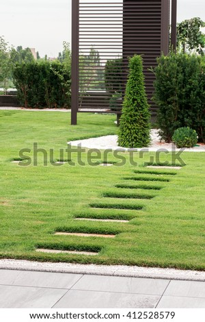 stone path in a private house - stock photo