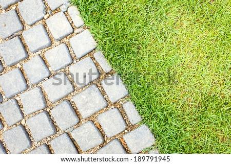 Stone path in the garden - stock photo