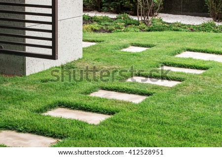 stone path in the garden landscape - stock photo