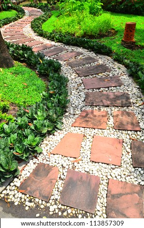 Stone Pathway in a garden - stock photo