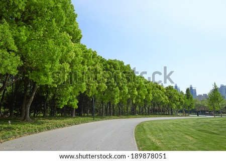 Stone Pathway in Lush Green Park - stock photo