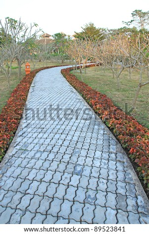 Stone pathway in the garden - stock photo