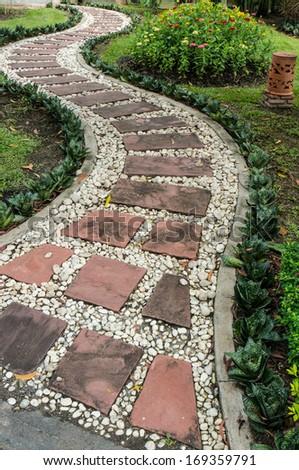 Stone pathway in the garden. Stock Photo - stock photo