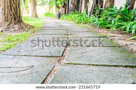 Stone pathway into garden - stock photo