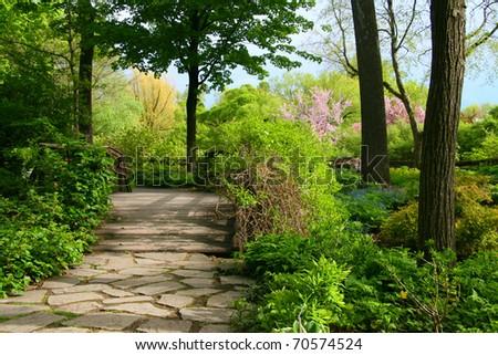 Stone pathway passing thru a lucious garden - stock photo