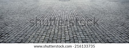 stone pavement in perspective - stock photo