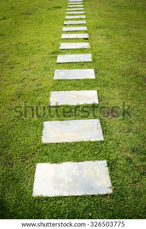 Stone pavement in the garden - stock photo